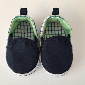 Navy & Green Checker Slip-On Size 1